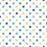 Seamless vector pattern, texture or background with cool mint, blue and yellow green polka dots on white background