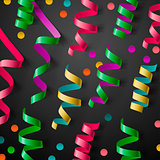 Party template with streamers and confetti, vector Eps10 image.