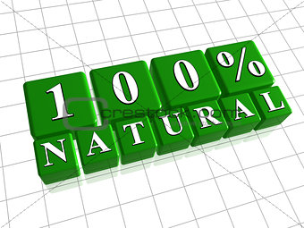 100 percent natural in 3d green cubes