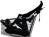 woman naked in a caddy shopping cart