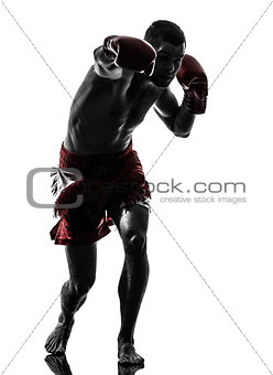 one man exercising thai boxing silhouette