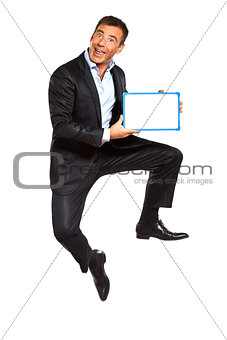one business man jumping holding showing whiteboard