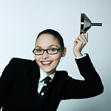 crazy business woman saluting