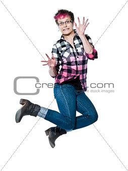 Portrait of nervous woman jumping