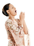sneezing woman asian