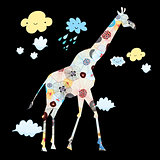 ornamental silhouette of a giraffe