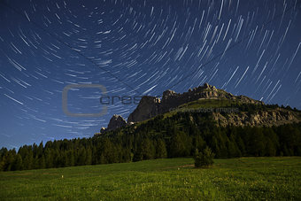 Catinaccio and star trails at the moonlight, Karerpass - Dolomit