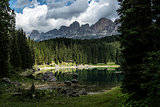 Carezza lake and Catinaccio, Dolomites