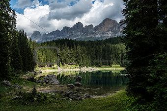 Carezza lake and Catinaccio, Dolomites