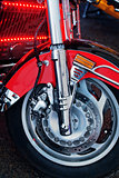 front wheel with disc brake of modern motorcycle