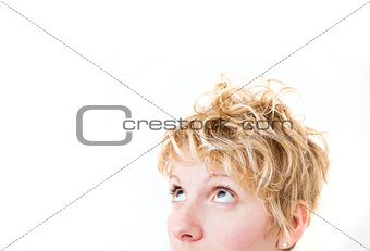 Blond Girl Looking Up / Left (mixed hairs)
