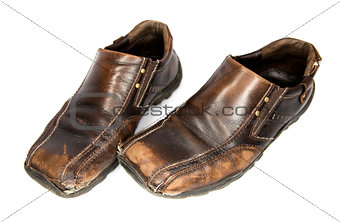 Old Brown Shoes  top view (isolated on white background)