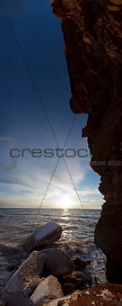 Vertical Panorama (sunset and cliff)