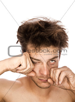 Tired Man Rubbing eyes - isolated