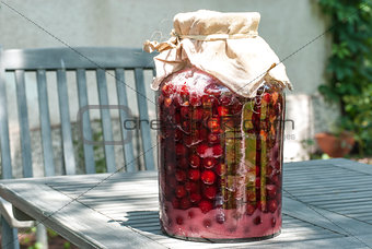 Jar with sugar soaked sour cherries