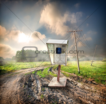 Old payphone in the field