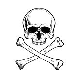 Black and white human skull and crossbones