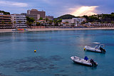 Beach of Paguera in Majorca at Sunset