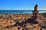 Stack of stones on cliff. Lanzarote, Canary Islands. Stack of st