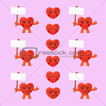 Little Hearts with White Signboards