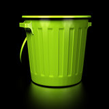 Empty Trash Bin Over Black Background