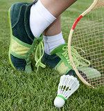 foot of sportswoman on grass