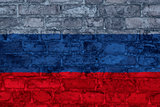 Russian flag on brick wall