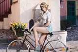 fashion girl on bicycle