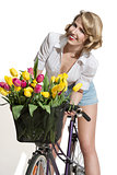 smiling fashion girl on bicycle