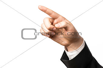 Finger of a businessman pointing at something
