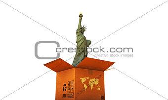 cardboard box with liberty statue