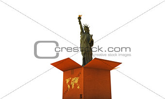 cardboard box with liberty statue