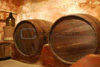 Old Barrel In Cellar