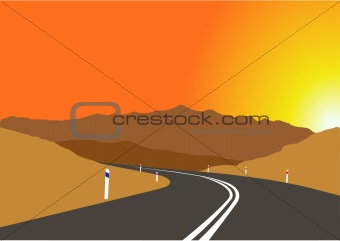 vector image of sunset over the mountains road