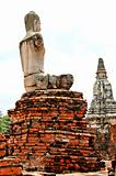 Ancient buddhist temple ruins in Ayuttaya, Thailand