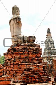 Ancient buddhist temple ruins in Ayuttaya, Thailand