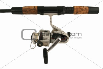 Old isolated fishing rod and reel