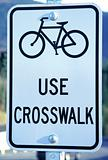 "Bicycles ""Use crosswalk"" sign"