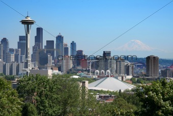 Postcard view of Seattle