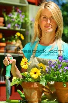 Attractive woman doing garden work