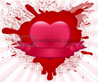 Abstract grunge valentines design with heart