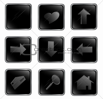 Black square web buttons