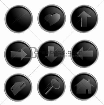 Black spheric web buttons