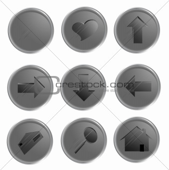Grey spheric web buttons