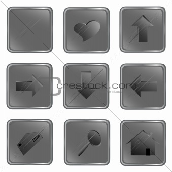 Grey square web buttons