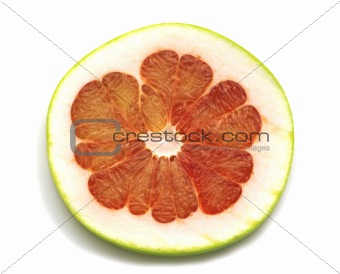 slice of pomelo on white background