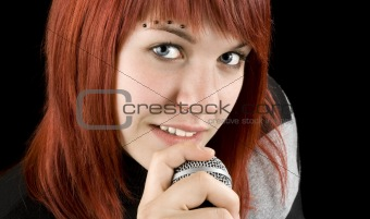 Girl singing on microphone