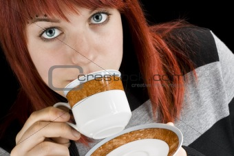 Girl sipping coffee