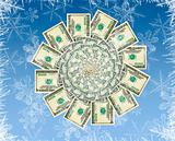 Concept of a winter money flower