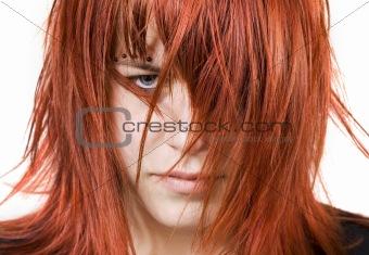 Cute redhead girl with messy hair